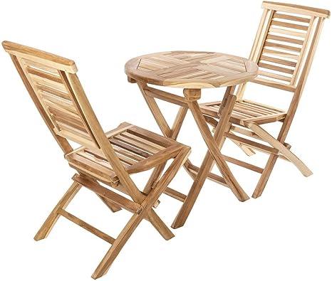 PrimeMatik - Conjunto de Mesa Redonda 66 cm y 2 sillas para jardín Exterior de Madera de Teca certificada: Amazon.es: Electrónica