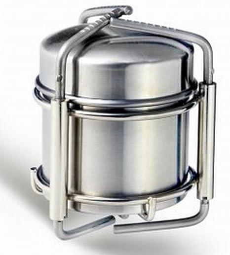 Estufa de alcohol OUT-D para camping de acero, inoxidable, 247 g.