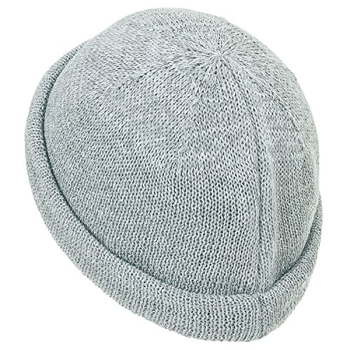 Vintage Beanie Hat Light Solid Cotton ililily Knitted Color Casual Cap Soft Short Grey 1wI84qY4x