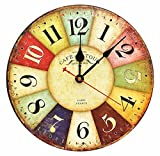 """Large Decorative Wall Clock ,RELIAN 14"""" Vintage Silent Wall Clock Non Ticking for Living Room and Kitchen Round Wood Decor"""