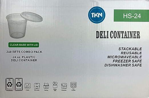 TKN Deli Soup Containers HS24 24oz 240 Combo Sets Microwaveable
