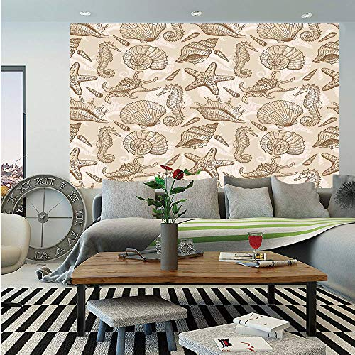 Beige Huge Photo Wall Mural,Exotic Marine Animals in Retro Style Ilustration Shells Starfish Seahorse Contemporary Deco Decorative,Self-Adhesive Large Wallpaper for Home Decor 100x144 inches,Beige ()