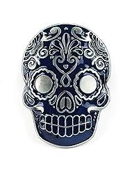 Senmi Aztec Skull Blue Belt Buckle (Blue)