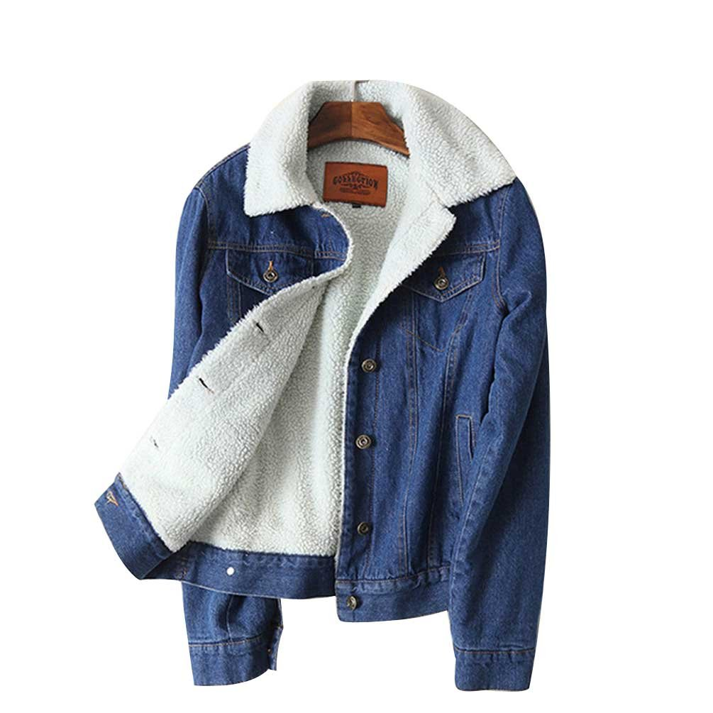 Women Lambs Wool Jean Coat Pockets Long Sleeves Warm Jeans Coat Outwear Denim Jacket DLGLOBAL