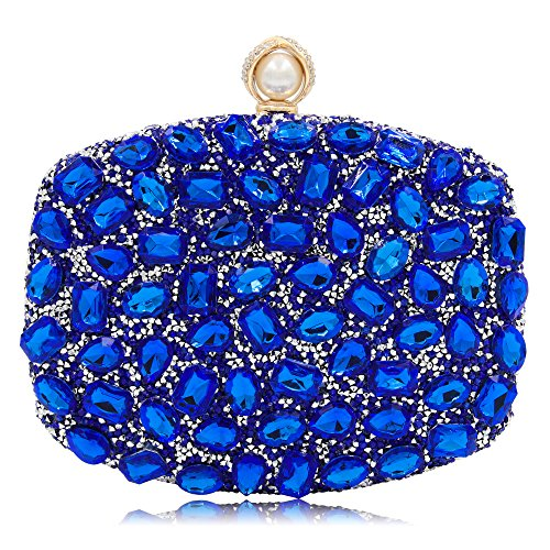 Bridal Rhinestone Evening Bag Party Handbags Clutch Purses For Women (Blue 1) by Mystic River