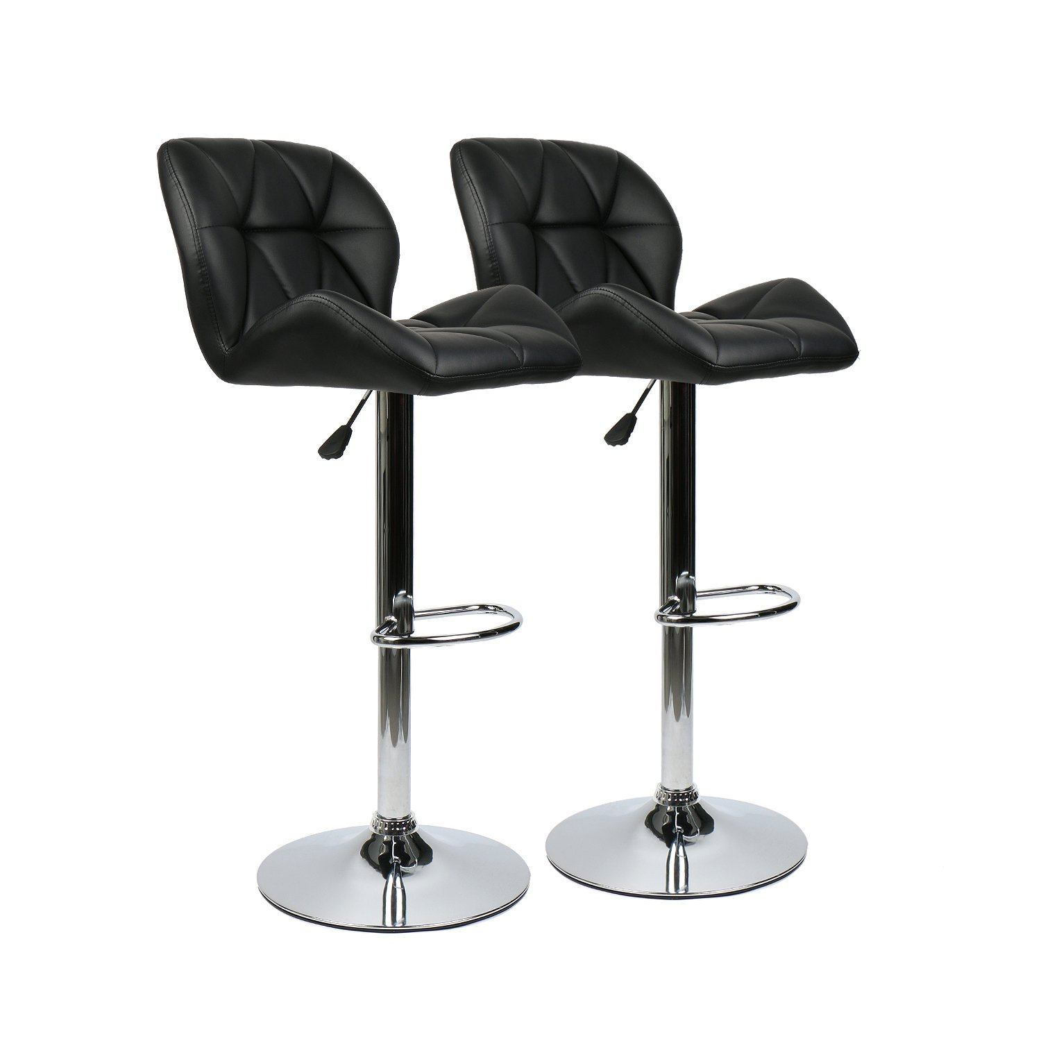 YOURLITEAMZ Bar Stools Modern Swive Adjustable Barstools Sets of 2 Counter Height Leather Padded with Shell Back Home Bar Restaurant Dining Room Furniture Contemporary Hydraulic Chairs (Black) by YOURLITEAMZ