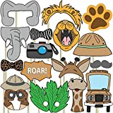Blue Orchards Safari Photo Props (32 Pieces) for Photo Booths, Kids Birthdays, Jungle Themed Parties and More! Our Safari Photo Booth Party Favors are Pre-Made (Not DIY) for Your Convenience!