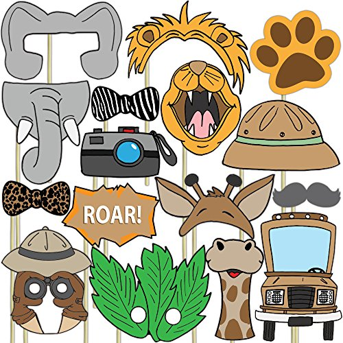 Blue Orchards Safari Photo Props (32 Pieces) for Photo Booths, Kids Birthdays, Jungle Themed Parties and More! Our Safari Photo Booth Party Favors are Pre-Made (Not DIY) for Your Convenience! - Dress Up Mask