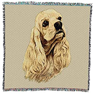 Pure Country Weavers - Cocker Spaniel Woven Throw Blanket with Fringe Cotton. USA Size 54x54 4