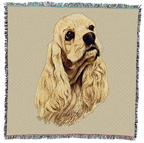 Pure Country Weavers - Cocker Spaniel Woven Throw Blanket with Fringe Cotton. USA Size 54x54