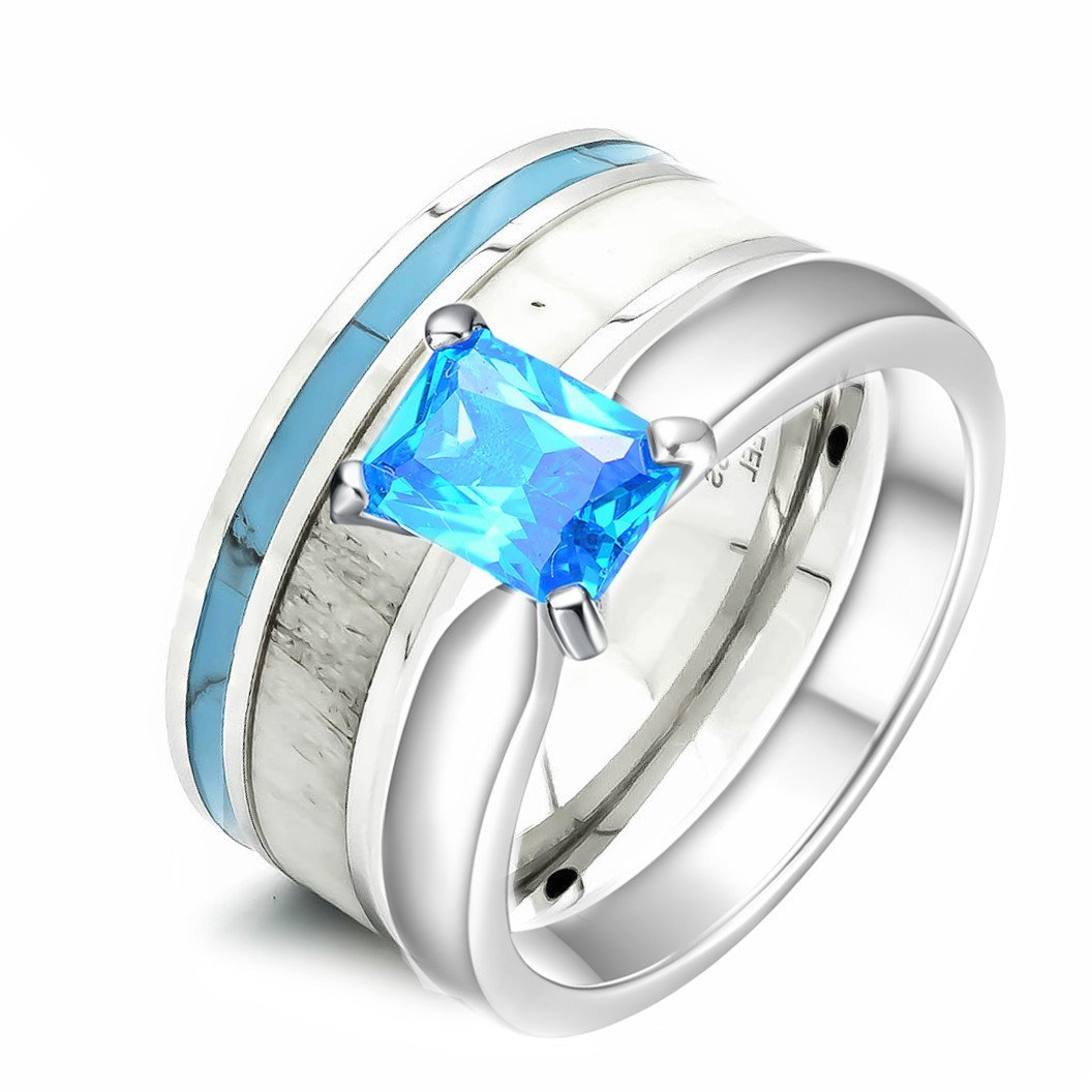Amazon 2 Pc Womens Deer Antler Wedding Ring Set Turquoise Cubic Zirconia Stainless Steel Sterling Silver Engagement Jewelry: Antler Wedding Ring Turquoise At Websimilar.org