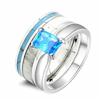 Amazon.com: 2 pc Womens Deer Antler Wedding Ring Set Turquoise ...