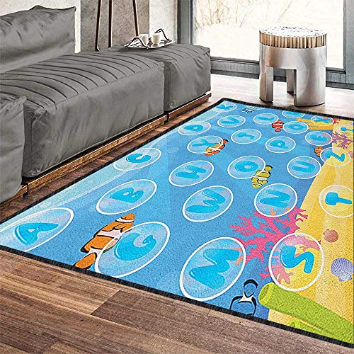 Kids Activity Large Classical Carpet,Letters of The Alphabet in Bubbles Under The Sea Educational Illustration for Dorm Playing Room Multicolor 71