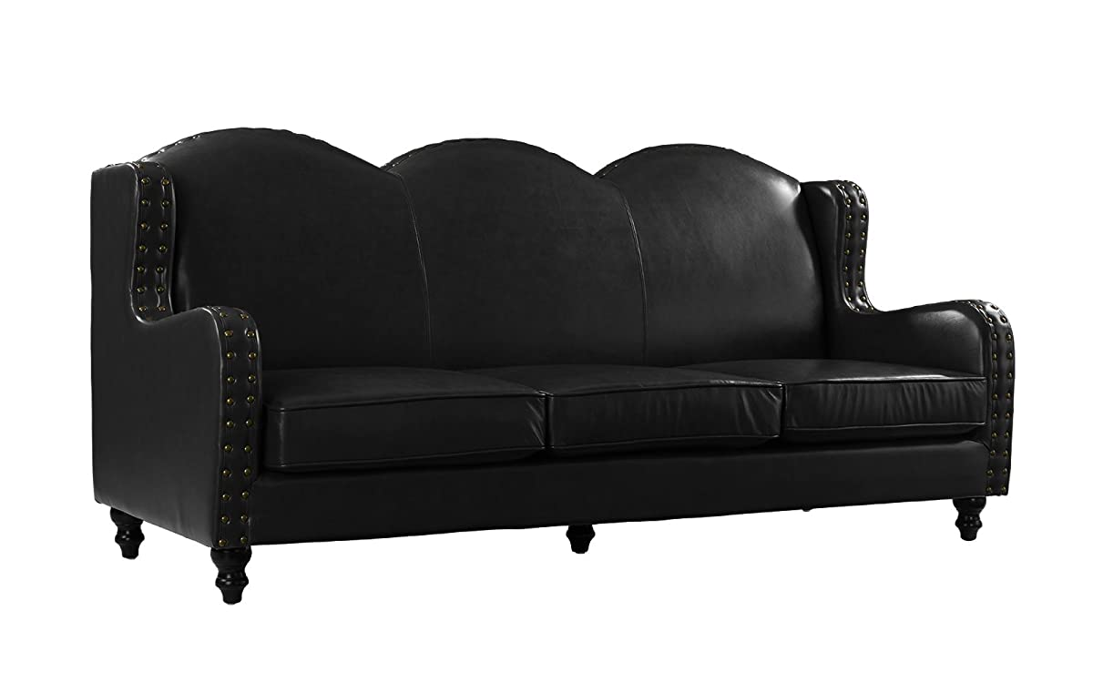 Leather Match Sofa 3 Seater, Living Room Couch, Loveseat for 3 with Nailhead Trim (Black)