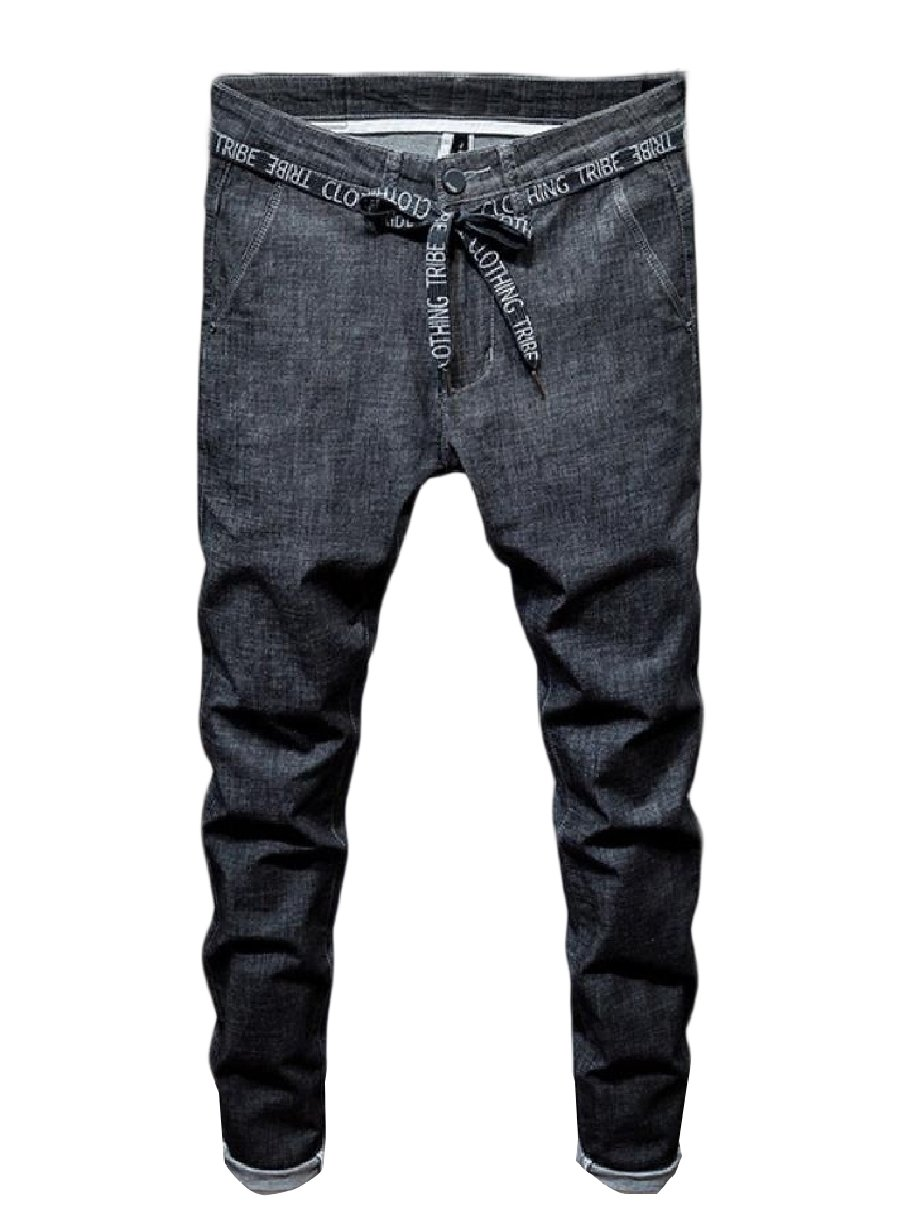 XiaoShop Men's Vogue Tapered Relaxed Fit Washed Fine Cotton Denim Pants Black 34