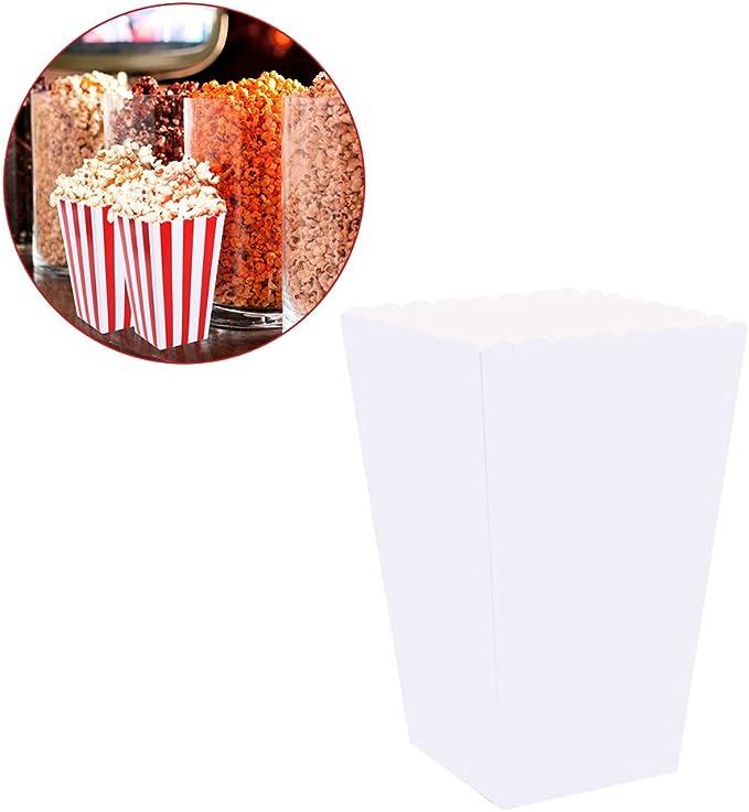 NUOLUX 100pcs Cajas de palomitas de ma/íz blancas Cartones Bolsas de papel Contenedores de papel de comida para el cine Cajas de postres de mesa de cine Favores de boda
