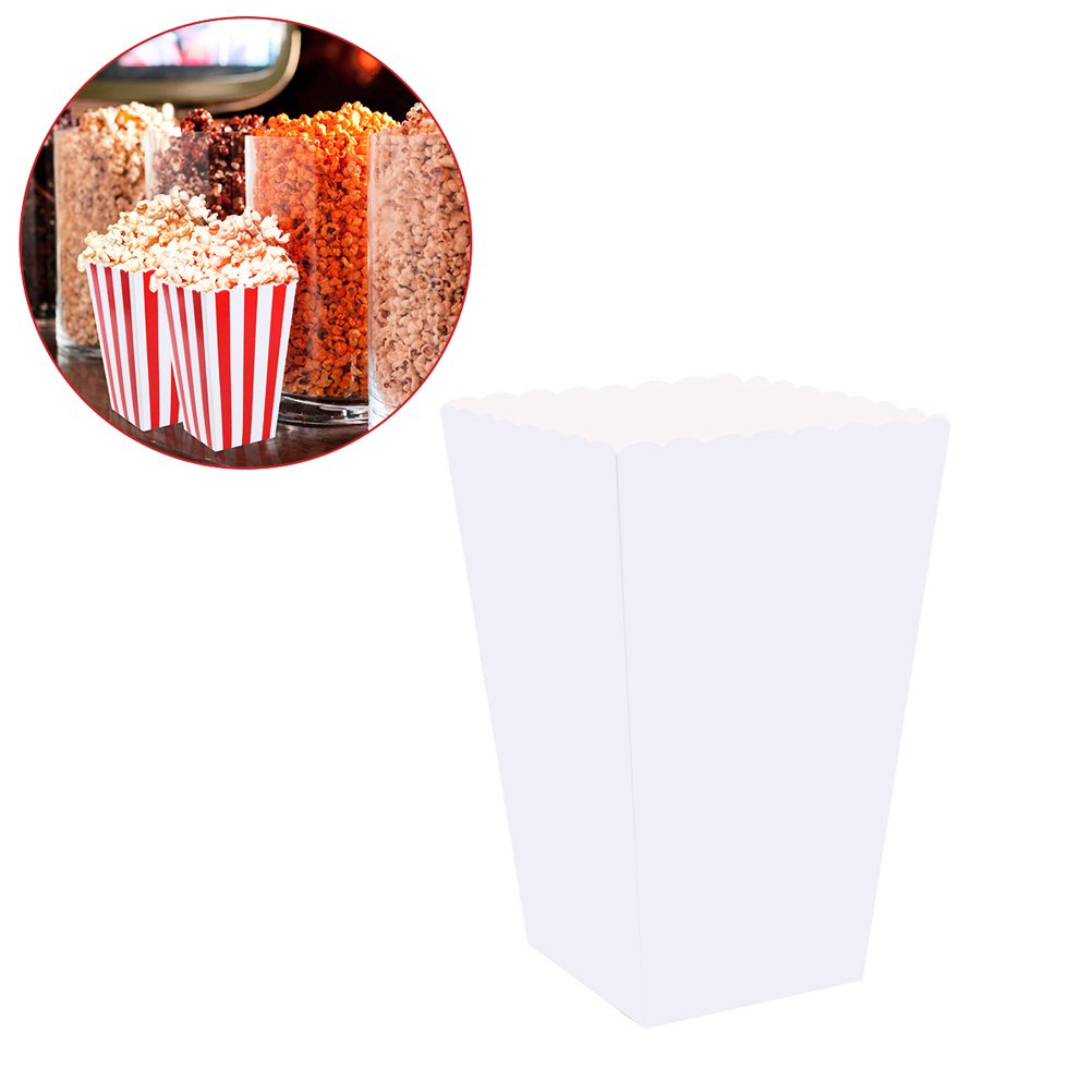 TOYMYTOY Popcorn Boxes,Candy Containers Cartons Paper Bags for Party Favors,100pcs(White)