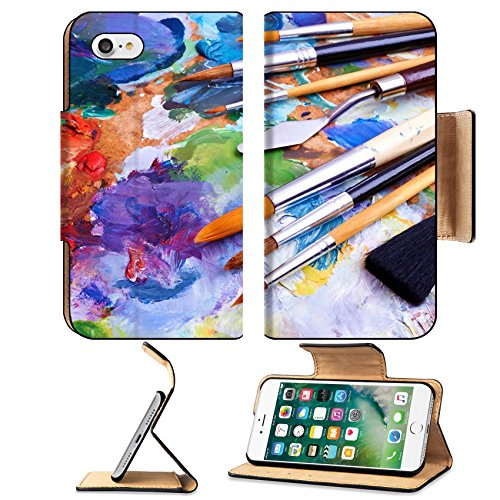 MSD Premium Apple iPhone 7 Flip Pu Leather Wallet Case artists brushes and oilpaints on wooden palette IMAGE 25277358 (Artists Magnet Palette)