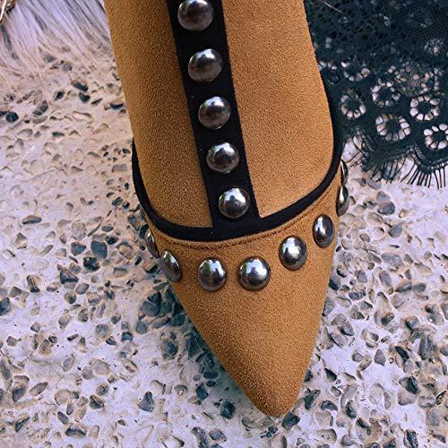di di di Moda Donna Stivali alla Alto Alto Alto Alto Donna Stivaletti da Tacco 4 Rivetti Stivali con personalità TFTxqfX8n