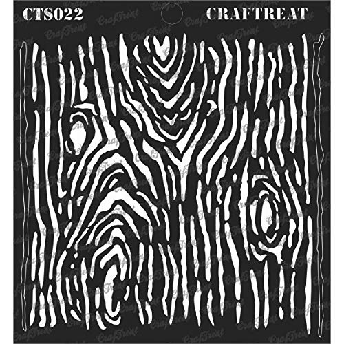 (CrafTreat Stencil - Woodgrain - Reusable Painting Template for Journal, Notebook, Home Decor, Crafting, DIY Albums, Scrapbook and Printing on Paper, Floor, Wall, Tile, Fabric, Wood 6x6 inches)