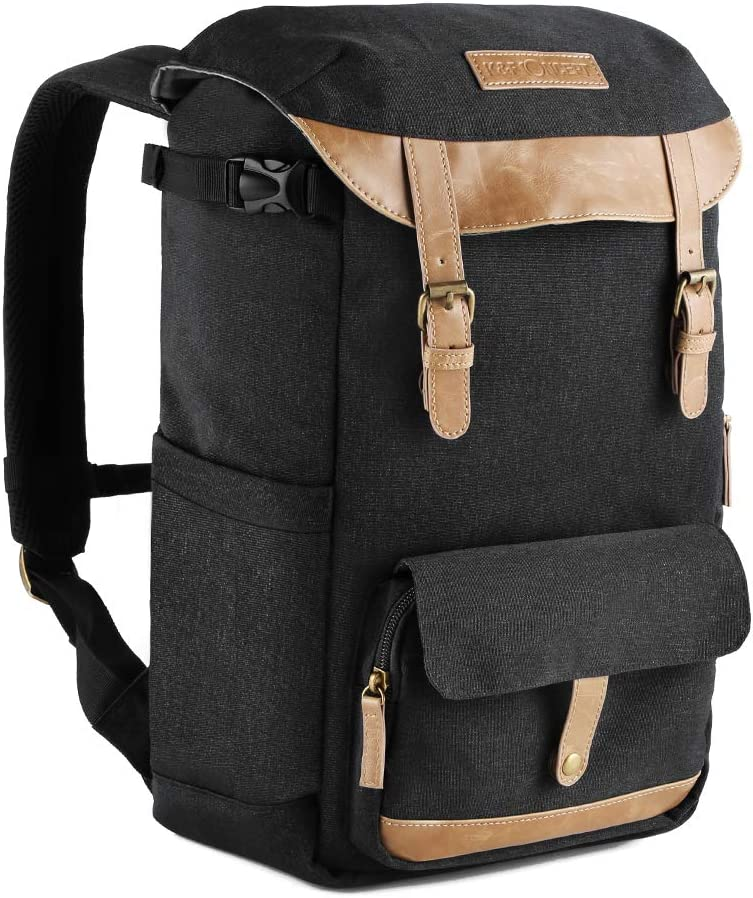 K&F Concept Multi-Functional Camera Backpack 600D Polyester Waterproof Photography Equipment Travel Bag for Tripod DSLR Camera and Accessory Black