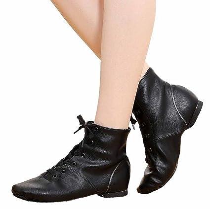 bf52344d4d3fd Amazon.com: SHINIK Women Ballet Flats Shoes Black High Top Jazz ...