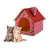 Easy-topbuy Cuccia per Animali Domestici nido Removable lavaggio Bar Red Brick animali domestici casa cani letto singolo camera casa Kennel comignolo cattery Tent Nest