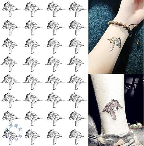 32 pegatinas en blanco y negro lindo pequeño tatuaje de tigre pegatinas impermeables hombres y mujeres duraderas realistas pegatinas de tatuaje animal: Amazon.es: Belleza