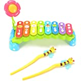 ThinkMax 8-Note Xylophone, Hand Knock Rainbow Xylophone Toy, Baby Musical Toy Present