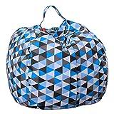 AmyDong Storage Box, Home Storage Bag Plush Kids Stuffed Animal Plush Toy Storage Bean Bag Soft Pouch Stripe Fabric Chair (C)