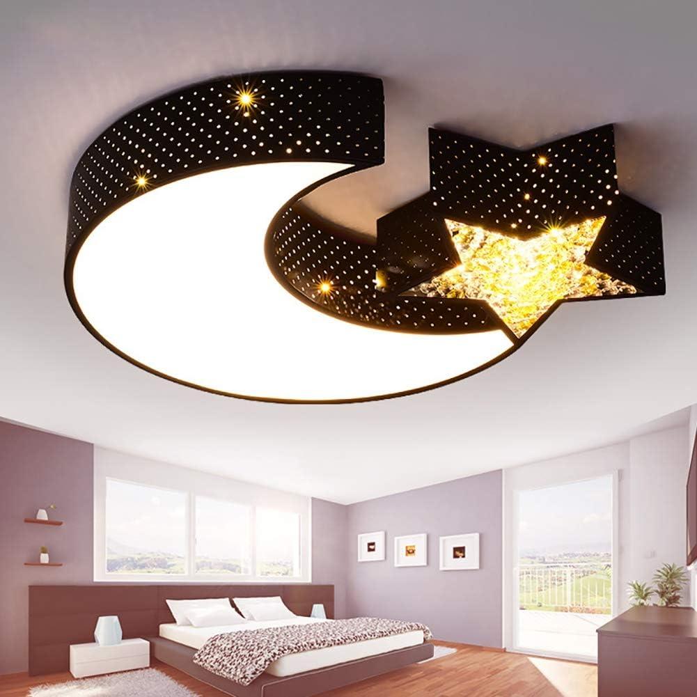 L Hpt Led Ceiling Lamp Lights Boys And Girls Moon Stars Creative Bedroom Light Study Children Light Art Iron Lamps 500mm 70mm Black Amazon Co Uk Kitchen Home
