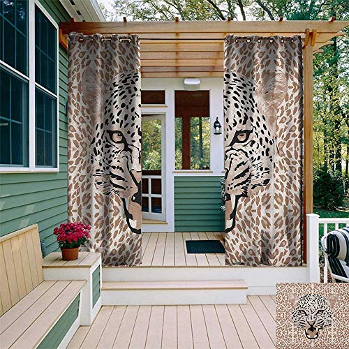 (leinuoyi Modern, Outdoor Curtain Wall, Roaring Leopard Portrait with Rosettes Wild African Animal Big Cat Graphic, Balcony Curtains W84 x L96 Inch Cocoa Beige Black)