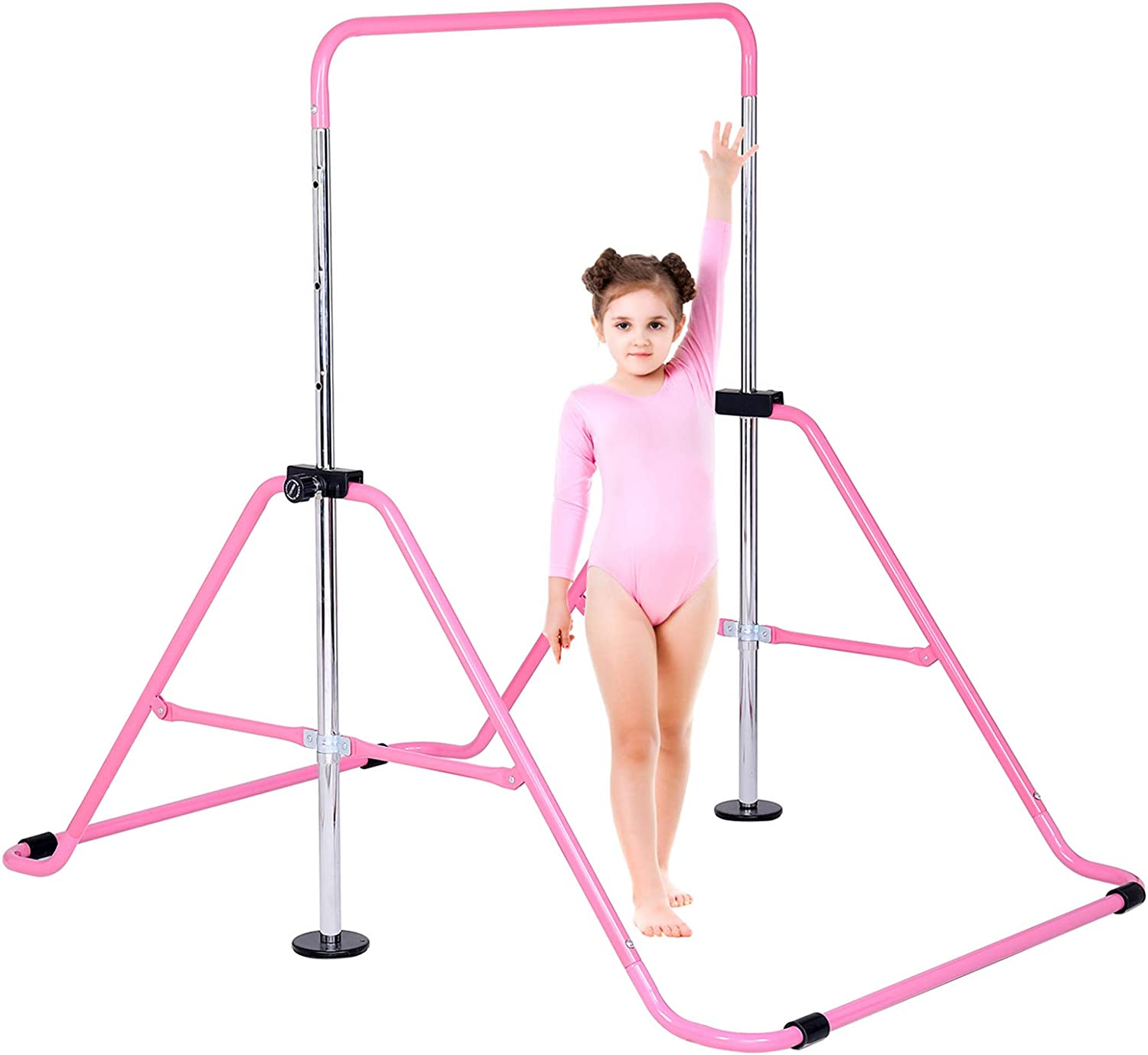 Dai&F Gymnastics Bars for Kids, Folding Gymnastics Horizontal Bars with Adjustable Height, Junior Training Kip Bar Home Using for Child, Girls, Boys(Pink/Blue)