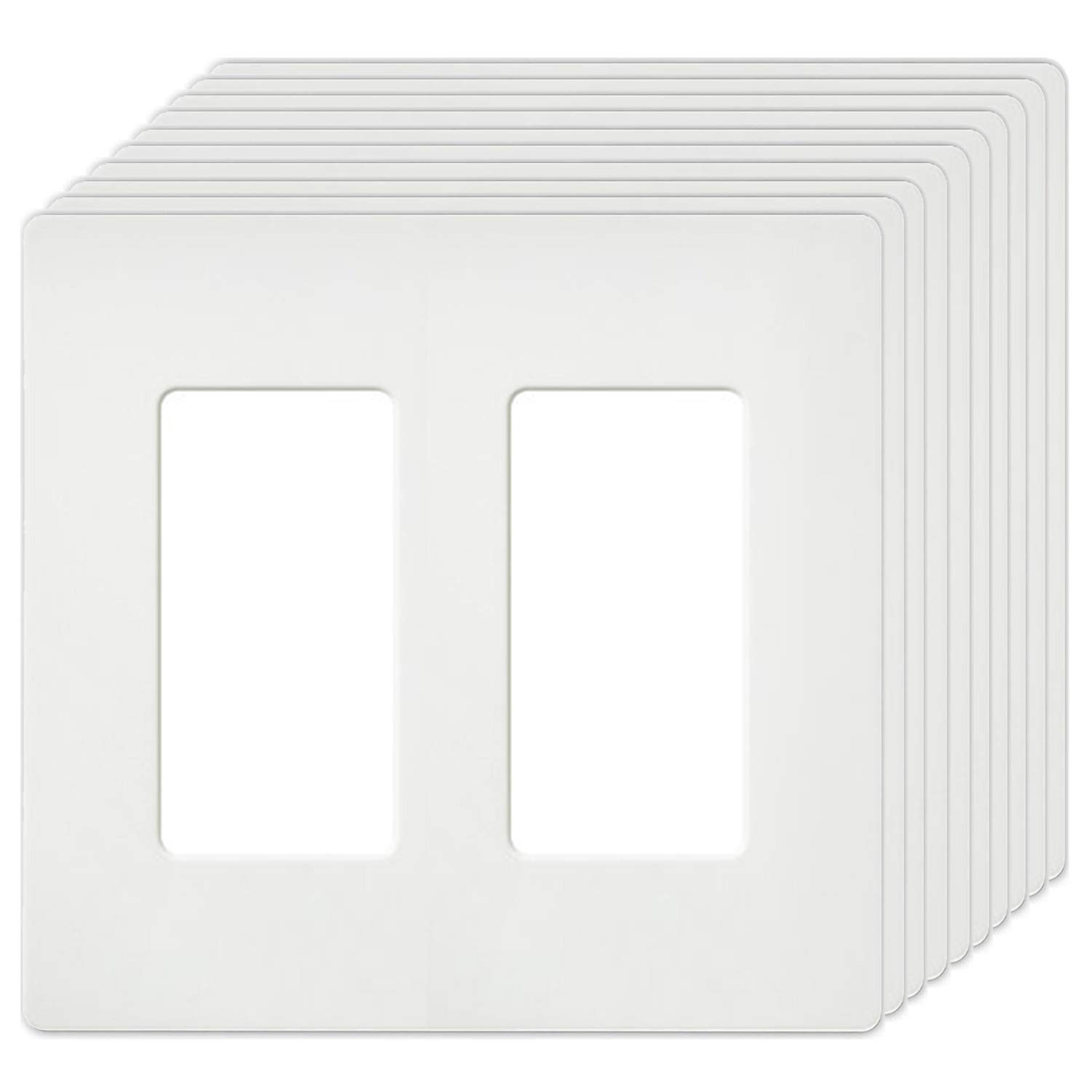 [10 Pack] Screwless Wall Plates by BESTTEN, USWP4 Series, 2-Gang Outlet Covers for GFCI, Decor Receptacles, Dimmers and Light Switches, Unbreakable PC, Residential Grade, UL Listed, White