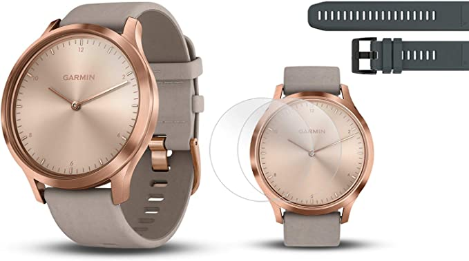 PlayBetter Garmin vivomove HR Premium (Rose Gold/Gray Suede Band, S/M) Hybrid Smartwatch | with Extra Silicone Watch Band (Black) Screen Protectors ...