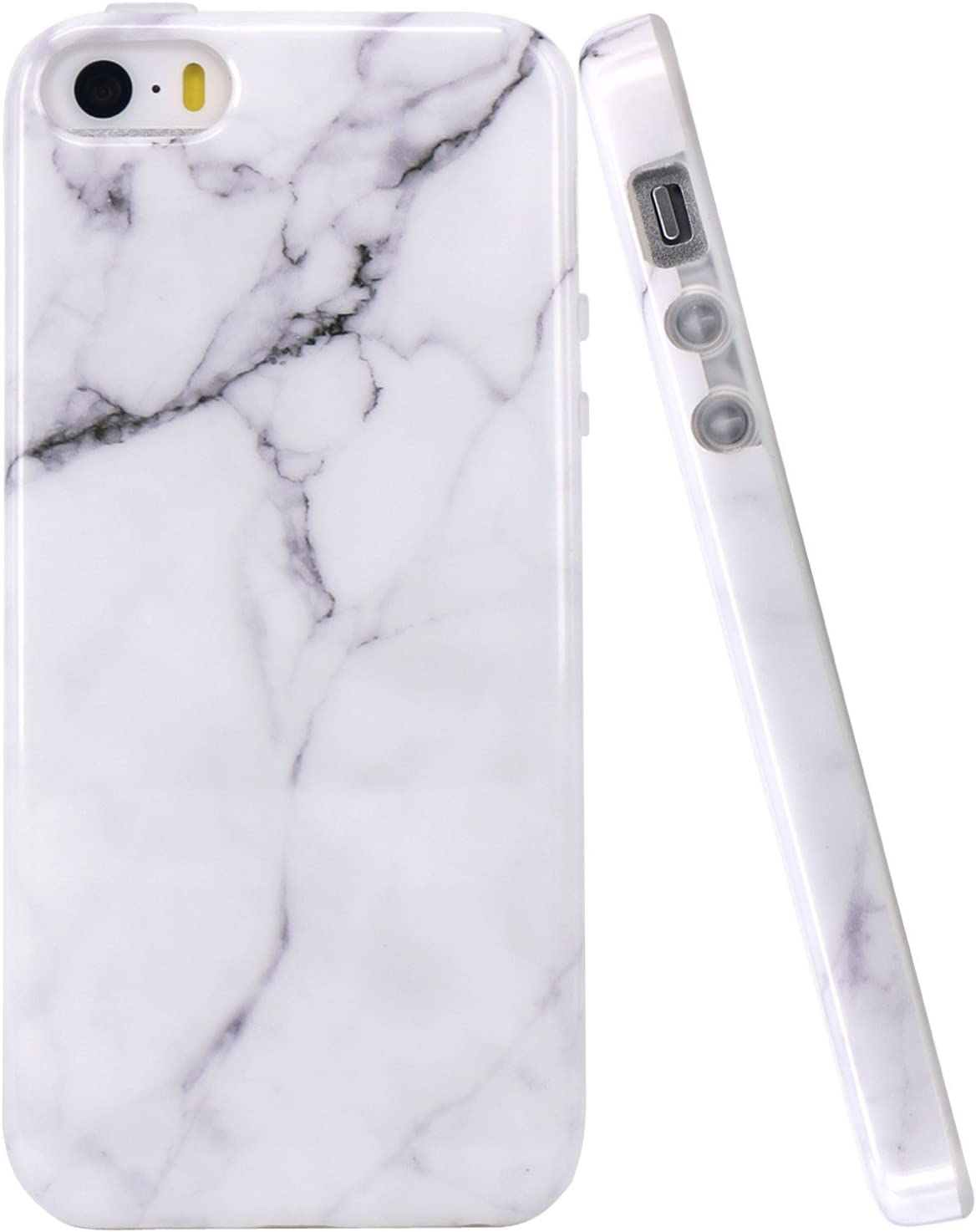 JAHOLAN iPhone 5 Case, iPhone 5S Case White Marble Design Slim Shockproof Clear Bumper TPU Soft Case Rubber Silicone Cover Phone Case for iPhone 5 5S SE
