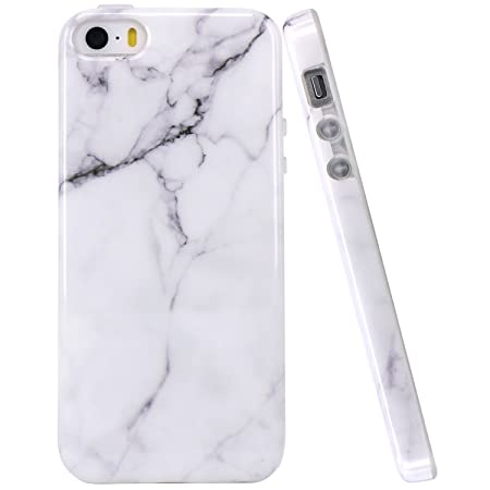 JIAXIUFEN iPhone 5 Hülle, Weiß Marmor Serie Flexible TPU Silikon Schutz Handy Hülle Handytasche HandyHülle Etui Schale Case C