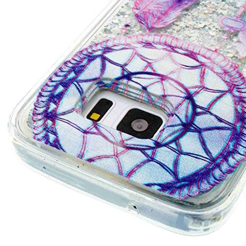 Trumpshop Smartphone Carcasa Funda Protección para Samsung Galaxy S7 edge + Atrapasueños + TPU 3D Liquido Dinámica Sparkle Estrellas Quicksand Resistente a arañazos Caja Protectora Las campanas de viento