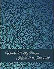 """Weekly Monthly Planner July 2019 to June 2020: Blue Art Mandala, Calendar Book July 2019-June 2020 Weekly/Monthly/Yearly Calendar Journal, Large 8.5"""" x 11"""" 365 Daily journal Planner, 12 Months July-June Calendar, Agenda Planner, Calendar Schedule Organizer Journal Notebook"""