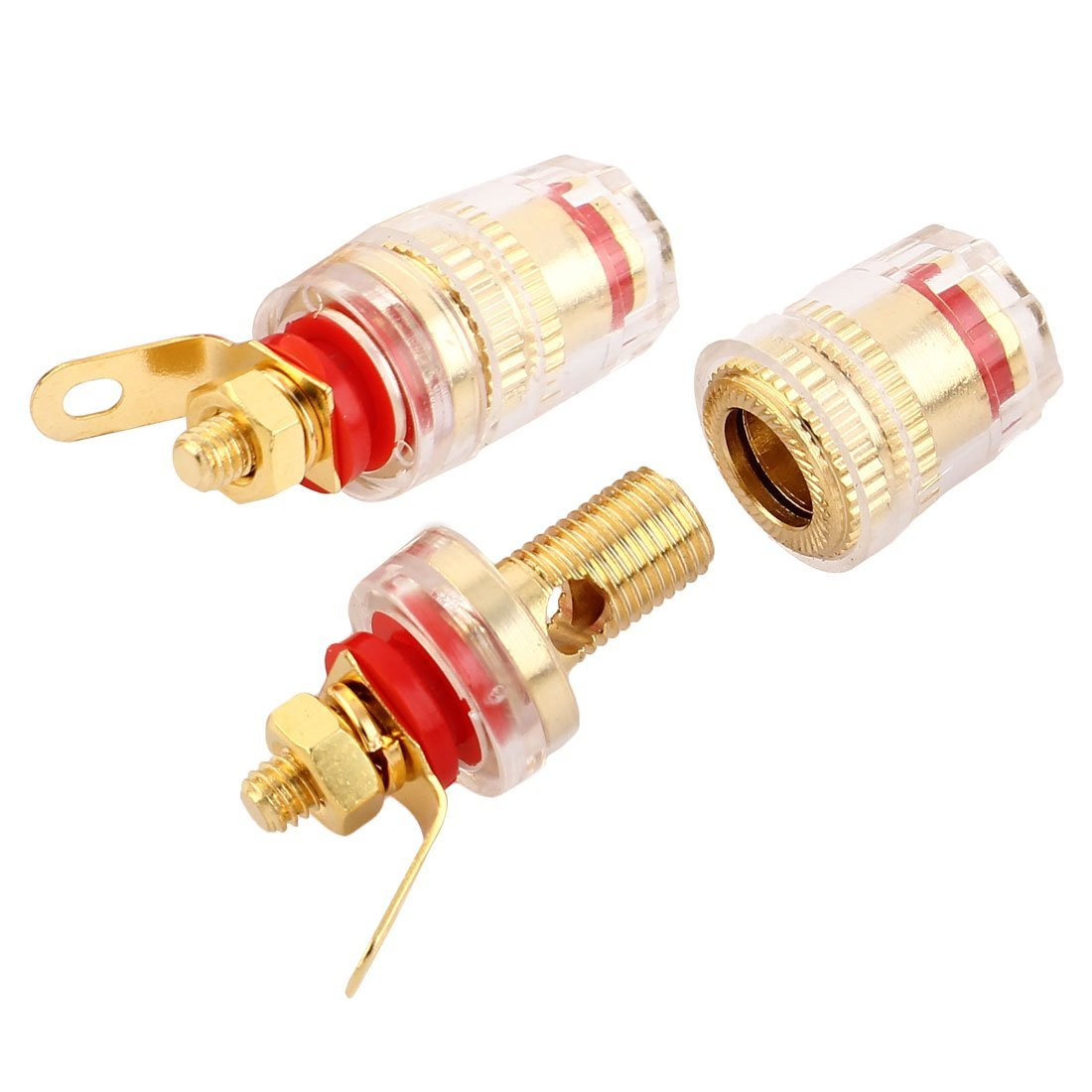 eDealMax cobre Binding Post oro Rojo de tono 6 PCS de Audio del altavoz del conector de plátano by eDealMax