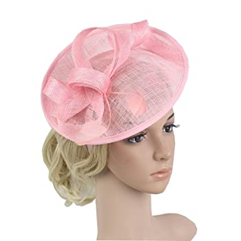Sinamay Mesh Hat Fascinator with Mesh Ribbons and Feathers Hat