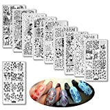 Nail Stamping Plates Butterfly Skull Peking Opera 10pcs/lot Leaves Flower Series Mutil 3D Diy Nail Art Image Stencil Stamp Template Plate Polish Manicure