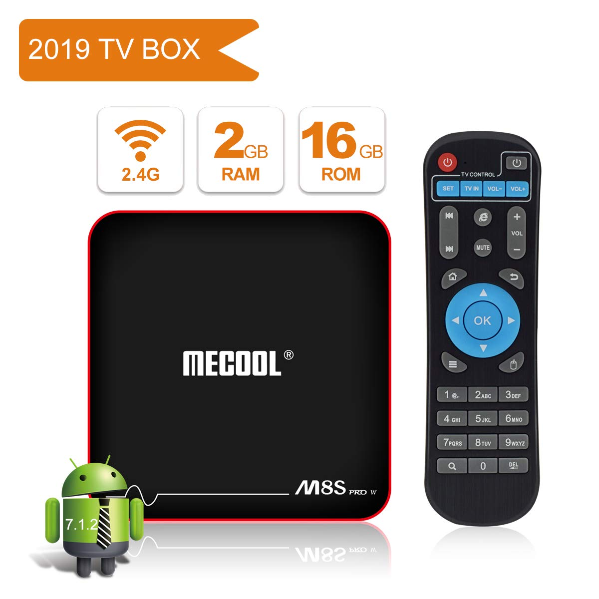 MECOOL M8S Pro W TV Box Android 7.1.2 with 2GB RAM/16GB ROM Amlogic S905W Quad Core, Best Android UI,HD 4K Internet Media Players