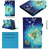 Lenovo Tab 4 8'' Case Tikeda Pu Leather Smart Shell Stand Cover Case for Lenovo Tab 4 8 Inch HD Tablet 2017 Release (Lenovo Tab 4 8'', Gold Butterfly)