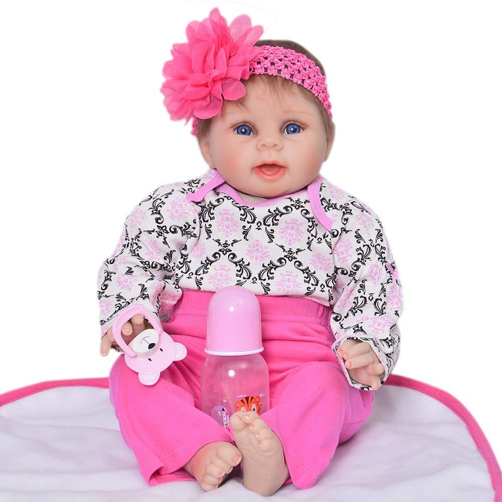 DMZH 55cm Reborn Babypuppen Süss Baby Simulation Neugeborenes Stoff Karosserie Weißhkörperpuppe Kinder Spielzeug Geburtstag Weißnachten Geschenke C