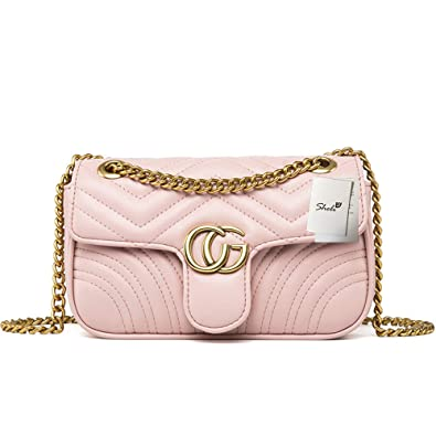 Women s Quilted PU Leather Handbags Tote Bag with Chain Strap Bolsas  Crossbody para Mujer 4d4139e153