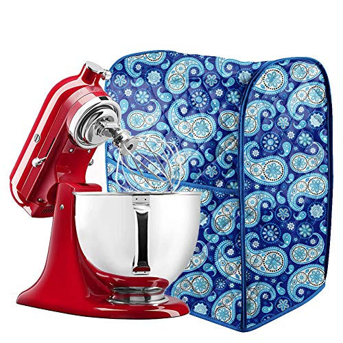 5-8 Quart Stand Mixer Cover, Dust Cover with Pockets Compatible with KitchenAid Mixers, Sunbeam Mixers, Cuisinart Mixers, Kitchen & Dining Small Appliance Dust Cover (Blue Kitchenaid Mixer Cover)