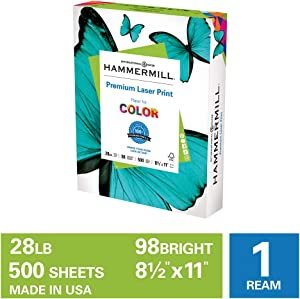 Hammermill Premium Laser Print 28lb Copy Paper, 8.5x11, 1 Ream, 500 Sheets, Made in USA, Sustainably Sourced From American Family Tree Farms, 98 Bright, Acid Free, Premium Laser Printer Paper, 125534R