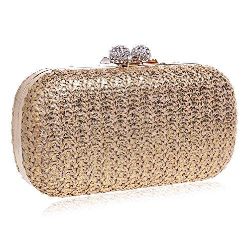 Woven Glitter Clutch Gift Clubs Bag Wedding Purse For Prom Party Ladies Bridal Gold Bag Evening Handbag Shoulder Women WYaqdX6qF