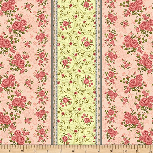 Benartex Homestead: Colonial Border Rose Fabric By The Yard (Wide Rose Colonial)